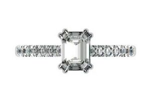 Double Prong Emerald Cut Diamond Engagement Ring 2 2