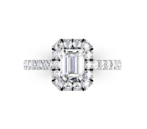 Double Prong Emerald Cut Diamond Halo Engagement Ring 2 2