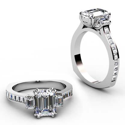 Double Prong Emerald Cut Three Stone Diamond Engagement Ring 1 1