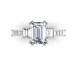 Double Prong Emerald Cut Three Stone Diamond Engagement Ring 2 2