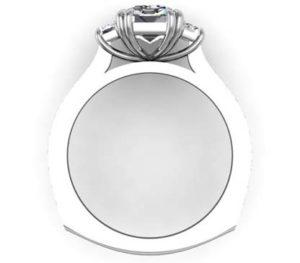 Double Prong Emerald Cut Three Stone Diamond Engagement Ring 3 2