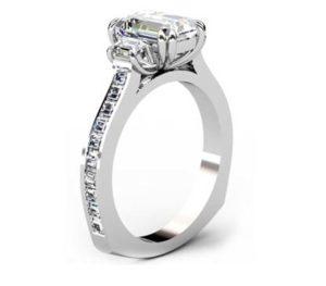 Double Prong Emerald Cut Three Stone Diamond Engagement Ring 4 2