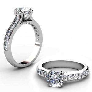 Double Prong Round Brilliant Cut Diamond Engagement Ring 1 1 2
