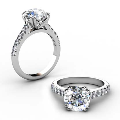 Double Prong Round Brilliant Cut Diamond Engagement Ring 1 3