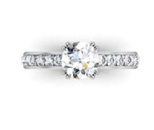 Double Prong Round Brilliant Cut Diamond Engagement Ring 2 1 2
