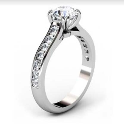Double Prong Round Brilliant Cut Diamond Engagement Ring 4 1 2
