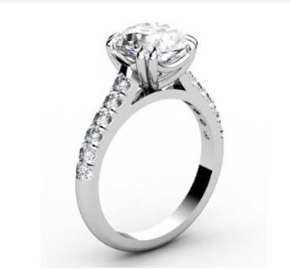 Double Prong Round Brilliant Cut Diamond Engagement Ring 4 3