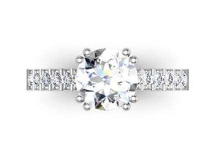 Double Prong Two Carat Round Brilliant Cut Diamond Engagement Ring 2 2