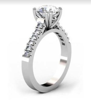 Double Prong Two Carat Round Brilliant Cut Diamond Engagement Ring 4 2