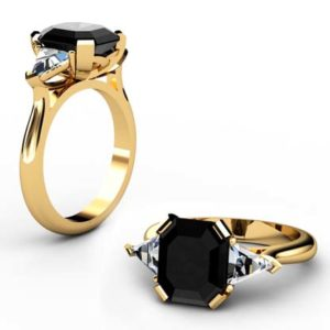 Emerald Cut Black Diamond Three Stone Yellow Gold Ring 1 2