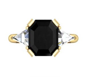 Emerald Cut Black Diamond Three Stone Yellow Gold Ring 2 2