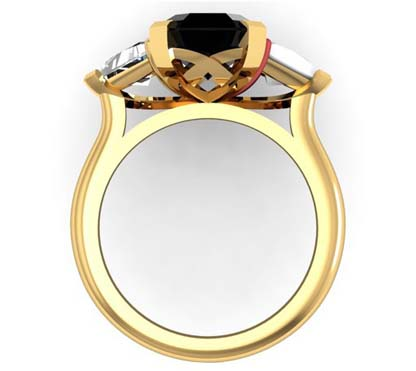 Emerald Cut Black Diamond Three Stone Yellow Gold Ring 3 2