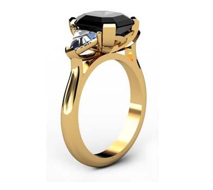 Emerald Cut Black Diamond Three Stone Yellow Gold Ring 4 2