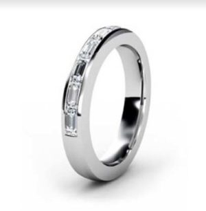 Emerald Cut Channel Set Half Eternity Diamond Ring 2