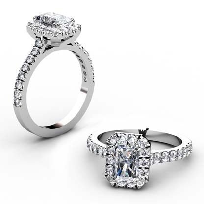 Emerald Cut Cluster Engagement Ring 1 2
