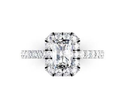Emerald Cut Cluster Engagement Ring 2 1