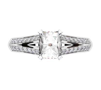 Emerald Cut Diamond Engagement Ring with Diamond Split Shank 2 2