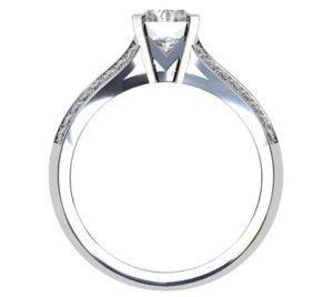 Emerald Cut Diamond Engagement Ring with Diamond Split Shank 3 2