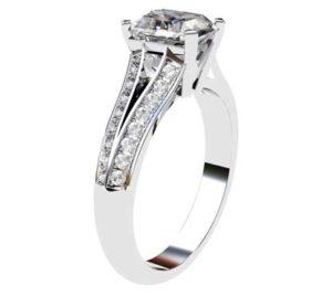 Emerald Cut Diamond Engagement Ring with Diamond Split Shank 4 2