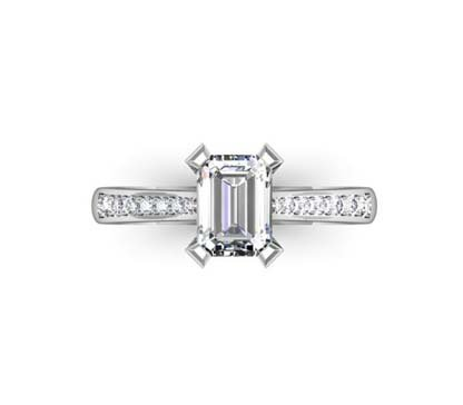 Emerald Cut Diamond Engagement Ring with Flat Prongs 2 2
