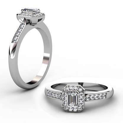 Emerald Cut Diamond Halo Engagement Ring with Channel Set Diamond Band 1 2