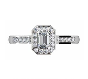 Emerald Cut Diamond Halo Engagement Ring with Channel Set Diamond Band 12 2