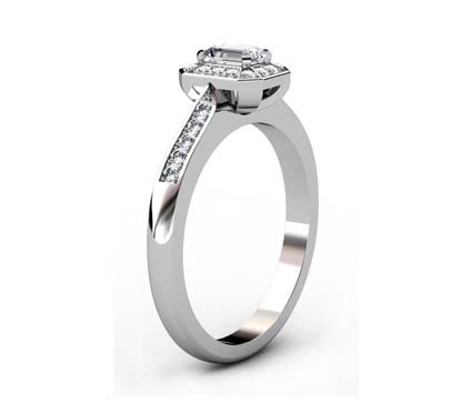 Emerald Cut Diamond Halo Engagement Ring with Channel Set Diamond Band 4 2