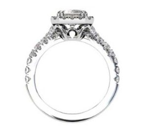Emerald Cut Diamond Halo Engagement Ring with Filigree Detailing 3 2