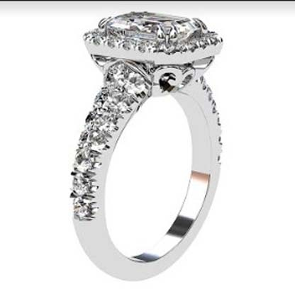 Emerald Cut Diamond Halo Engagement Ring with Filigree Detailing 4 2
