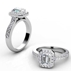 Emerald Cut Diamond Halo Engagement Ring with Side Stones 1 2