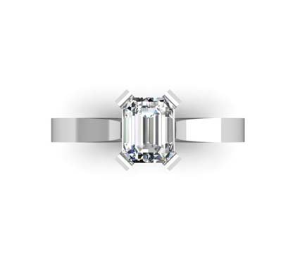 Emerald Cut Diamond Solitaire Engagement Ring with Flat Band and Diamond Detailing Underneath 2 2