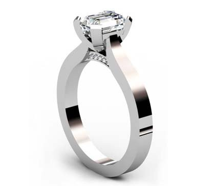 Emerald Cut Diamond Solitaire Engagement Ring with Flat Band and Diamond Detailing Underneath 4 2
