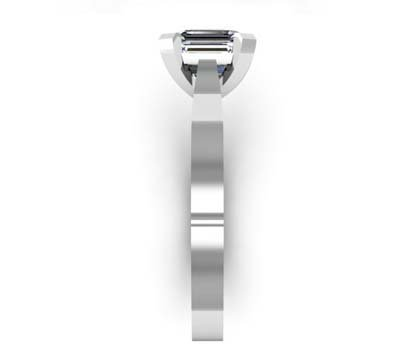 Emerald Cut Diamond Solitaire Engagement Ring with Flat Band and Diamond Detailing Underneath 5 2