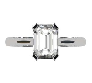 Emerald Cut Diamond Solitaire Engagement Ring with V Shape Basket 2 2