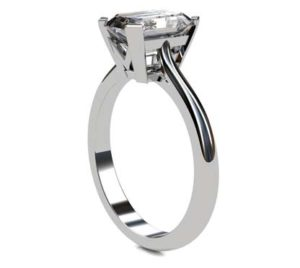 Emerald Cut Diamond Solitaire Engagement Ring with V Shape Basket 4 2