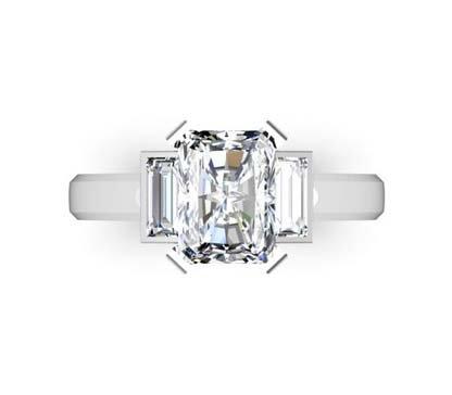 Emerald Cut Diamond Three Stone Engagement Ring with Beveled Band 2 2