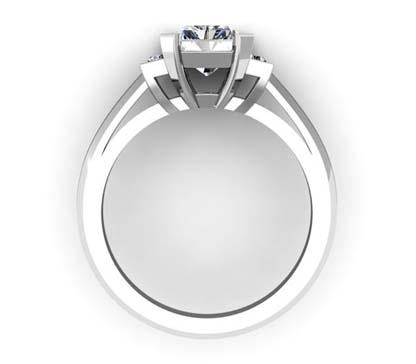 Emerald Cut Diamond Three Stone Engagement Ring with Beveled Band 3 2