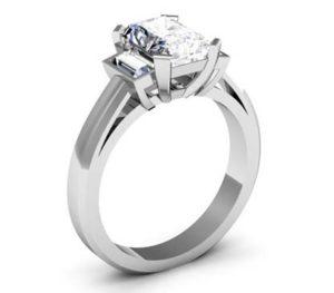 Emerald Cut Diamond Three Stone Engagement Ring with Beveled Band 4 2