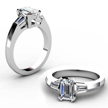 Emerald Cut Diamond Three Stone Engagement Ring with Knife s Edge Band 1