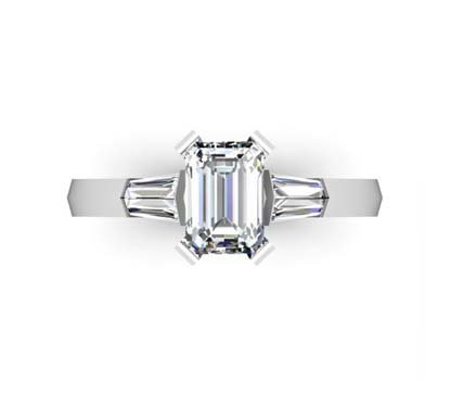 Emerald Cut Diamond Three Stone Engagement Ring with Knife s Edge Band 2