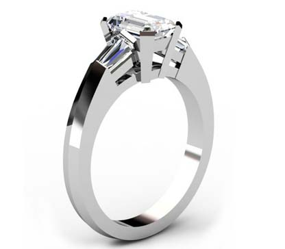 Emerald Cut Diamond Three Stone Engagement Ring with Knife s Edge Band 4