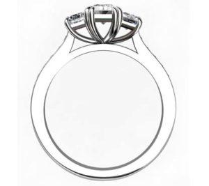 Emerald Cut Double Claw Diamond Three Stone 3 2