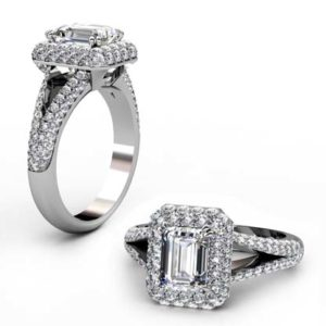 Emerald Cut Double Halo Diamond Engagement Ring 1 2