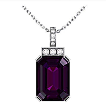 Emerald Cut Purple Sapphire and Diamond Pendant 1 1
