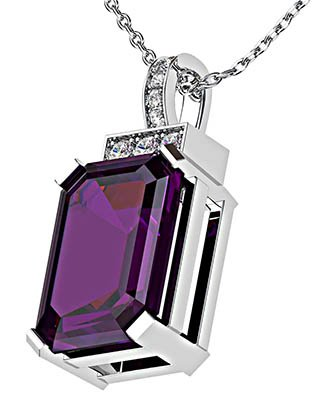 Emerald Cut Purple Sapphire and Diamond Pendant 3 2