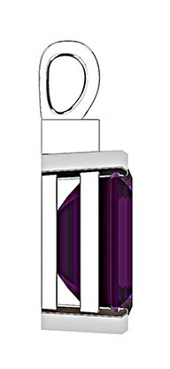 Emerald Cut Purple Sapphire and Diamond Pendant 4 2