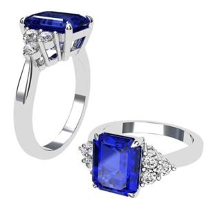 Emerald Cut Sapphire and Diamond Ring 1 1