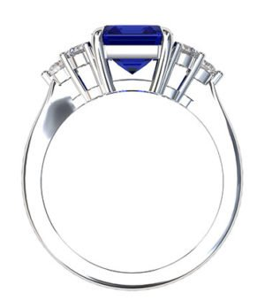 Emerald Cut Sapphire and Diamond Ring 3 1