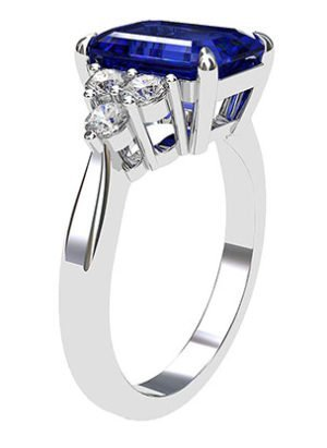 Emerald Cut Sapphire and Diamond Ring 4 1