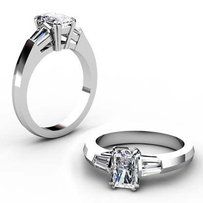 Emerald Cut Three Stone Engagement Ring with Knife s Edge Band 1 1